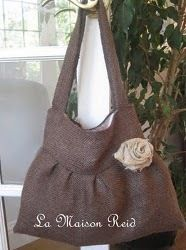 Burlap Purse With Shabby Rose | AllFreeSewing.com