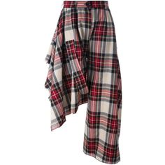 Area Di Barbara Bologna asymmetrical tartan trousers (18.420 RUB) ❤ liked on Polyvore featuring pants, beige, patterned trousers, print pants, patterned pants, tartan trousers and plaid pants