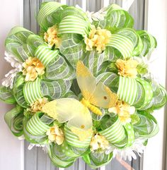 summer wreaths | Spring Summer Mesh Wreath Lime Green White by SouthernCharmWreaths
