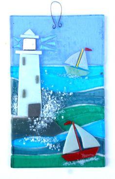 LIGHTHOUSE, ORIGINAL FUSED GLASS WALL ART in Pottery, Porcelain & Glass, Glass, Art Glass | eBay