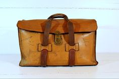 Vintage Leather Luggage Satchel Bag Handsewn.