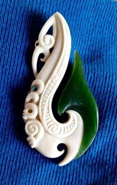 z jade hei matau(fish hook) pendant with paua shell inlays mixed media Hei Matau Fish Hook Necklace, Maori Patterns, Le Jade, Polynesian Art, Bone Crafts, Maori Designs, Nz Art, Hawaiian Jewelry, Maori Art