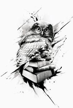 Owl with books tattoo design geomatric tattoos Owl tattoo tattoo design books - Tattoos And Body Art Tattoo Design Book, Book Tattoo, Tattoo Designs, Tattoo Owl, Tattoo Sketches, Tattoo Drawings, Body Art Tattoos, Sleeve Tattoos, Fish Tattoos