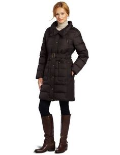 Tommy Hilfiger Women's Belted Down Coat Tommy Hilfiger. $137.50. Shell: 100% Nylon, Fill: 50% Down/50% Feather. Machine Wash. Tommy Hilfiger's Belted Down Coat promises warmth and style with a quilted upper and belted waist.. 36-inch length. Fold-away hood. Made in China. Zip and slip pockets. Water resistant
