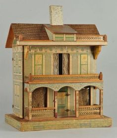 Large Antique Doll House. : Lot 1081, good style, design and nice soft colors. .....Rick Maccione-Dollhouse Builder www.dollhousemansions.com