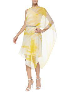 HALSTON HERITAGE ONE-SHOULDER TIE-DYE SHORT DRESS. #halstonheritage #cloth #