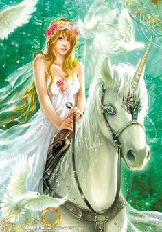 Unicorn by valleyhu on DeviantArt Unicorn And Fairies, Unicorn Fantasy, Unicorns And Mermaids, Unicorn Art, Fantasy Girl, Unicorn Pictures, Fairy Pictures, Fantasy Artwork, Magical Creatures