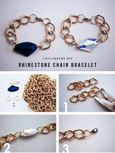 SwellMayde DIY | Rhinestone Chain Bracelet Tutorial