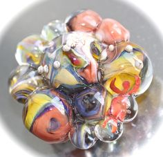 Bead / Glass Lampwork / 38mm Focal / Handmade / New / Silver by HoppeEtc on Etsy