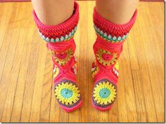 Hexagon Boot Slippers - Free Pattern included for shorter version - shouldn't be difficult to modify for taller version seen here
