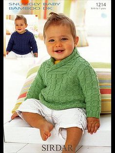 Sweater Sirdar 1214 DK knitting pattern for baby, babies and or toddlers Toddler Knitting Patterns Free, Sweater Knitting Patterns, Knitting For Kids, Baby Patterns, Knit Patterns, Knitting Projects, Weaving Patterns, Double Knitting, Baby Shawl