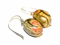 Sterling silver and picasso jasper earrings