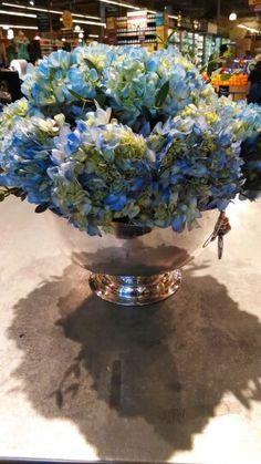 Hydrangeas in silver bowl Aug 15