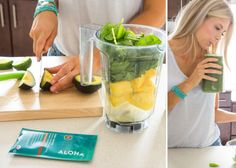 Recipe // ALOHA protein powder + spinach/kale + pineapple + coconut water + avocado + lime + cacao nibs