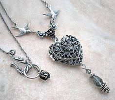 Silver Heart Locket Necklace Swarovski Crystal by Aranwen on Etsy