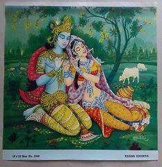 India Vintage Mythological Hindu Gods Old Large Print-Radha Krishna Radha Krishna Wallpaper, Lord Krishna Images, Radha Krishna Pictures, Radha Krishna Love, Shree Krishna, Radhe Krishna, Radha Rani, Drawing Competition, Indiana