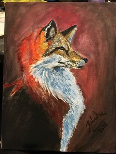 Red fox ! painting