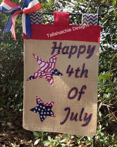 Patriotic Burlap Garden Flag Personalized by TallahatchieDesigns