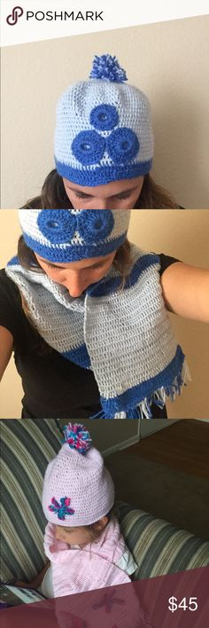 Hat and scarf for kids and adults 100% Acrylic Yarn. handmade hat  and scarf for men, women, children, toddlers, babies. Machine wash in warm water. Lay flat to dry. Do not iron.For more information or to place an order please text me....... Accessories Scarves & Wraps