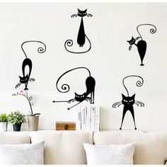Cute Black Cat Wall Stickers Vinyl Decal Stickers For Kids Rooms Abstract Pussy Decoration Autocollant Mural Window Stickers, Wall Stickers, Vinyl Decals, China Wall, Murals For Kids, Cute Black Cats, Cat Wall, Living Room Decor, Kids Rooms