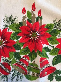 Vintage 1950s Christmas Tablecloth Poinsettia Candles Bells 63x50 Inches  | eBay