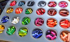 great idea for all those old broken crayons that they don't want to use. i think i might have to do this one