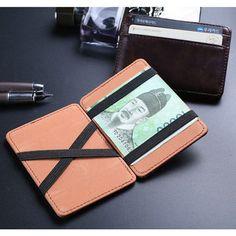 Leather Magic Wallets Men Money Clips Card Purse 2 Colors - US$6.03