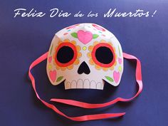 Dia de los Muertos template ideas: Color in your own calavera mask for el Dia de los Muertos!
