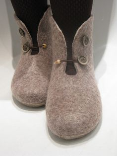 Items similar to women's winter house boots, ankle felted slippers, ready to ship on Etsy - Patricia Rose Wool Shoes, Felt Shoes, Felt Booties, Baby Booties, Felted Slippers, Winter Slippers, Boating Outfit, How To Make Shoes, Ankle Boots