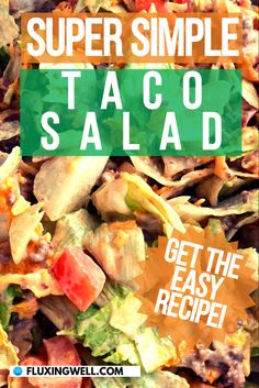 The Best Easy Taco Salad You Will Ever Make is quite a claim, but this is the best taco salad recipe because there are some easy shortcuts to speed up preparation. Learn how to make taco salad the simple way. If you need some camping food recipes, this is a terrific taco salad to make cooking on your camping trip a breeze. This taco salad is delicious, and has many healthy ingredients. Spice up your next dinner with this fabulous easy taco salad recipe! #tacosaladdorito #campingdinner… The Best Taco Salad Recipe, Taco Salad Recipes, Easy Healthy Recipes, Easy Dinner Recipes, Easy Meals, How To Make Taco, Salad Ingredients, Easy Salads, Breeze