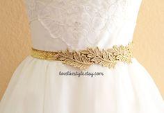 Blattgold-Spitze am dünn Gold Glitter elastischem Gürtel, Hochzeits-Gold-Gürtel, Brautjungfer Gold-Gürtel, Schärpe Riemen