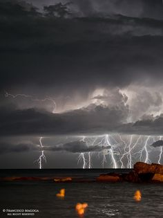 Lightning vertical inspiration - off the coast of Genoa, Italy