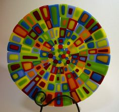 Brilliant colored fused glass plate by ShinyHardness on Etsy, $65.00