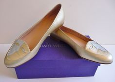 Stuart Weitzman NIB Pale Gold Ballet Flats Shoes with Faces Size 8B Retail $295. #StuartWeitzman #BalletFlats #Any