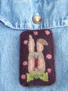 Punch Needle Bunny Pin