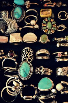 All these rings are really cool. I love the turquoise rings! They're huge on my minature hands though!