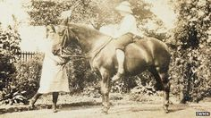 """P L and Freda Hewlett with their pony, Betty - """"It would break our hearts to let her go,"""" they wrote."""