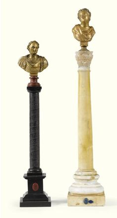 An Italian alabaster column circa 1900 surmounted by a gilt-bronze bust of a Roman woman together with an Italian black marble and slate model of Colonna Antonina, surmounted by a gilt bronze bust of a Roman emperor - Dim: Alabaster column :  49cm. high; 1ft. 7¼in., Colonna Antonina 41cm. high; 1ft. 4in.