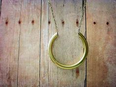 Simple Pendant Industrial Brass Curved Tube Necklace Unisex via Etsy.