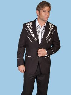 A Formal Western Wear men's black blazer jacket in a floral tonal embroidery in silver buttons in the front.  This Men's Blazer Jacket by Scully is a must in every Cowboys wardrobe.  Wear it with a pair of black pants or leather pants for a more up to date look then add your leather western boots and your Western hat for a Formal Western Occasion.  100 %Polyster.  Dry Clean.