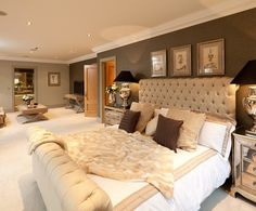 Perfect bedroom for a couple. Love this soft, neutral look. I would add more brown.