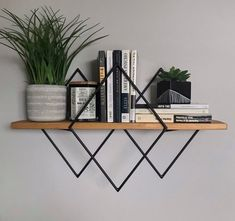 Custom Trinity Diamond Shelf Diamond Shelf Geometric Floating Shelf Modern Home Decor Handmade Wood & Metal Steel Wall Decor