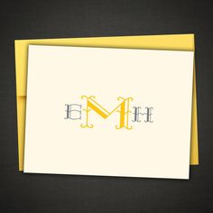 Monogrammed Personalized Stationery Thank You Notes by IDesignThat, $11.99