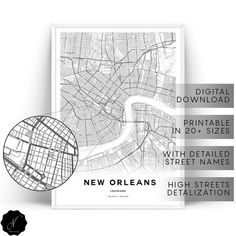 New Orleans Map Prints, Maps As Art, Printable Map Of New Orleans Wall Art Prints, New Orleans City Map Printable Wall Art, City Map Gifts New Orleans Map, New Orleans Decor, Printable Maps, Printable Wall Art, Printables, Coastal Wall Art, Photo Printer, Map Design, City Maps