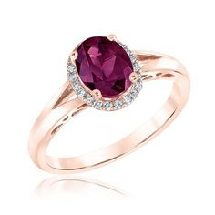 Rhodolite Garnet and Diamond Halo Rose Gold Ring 1/10ctw - Item 19559343 | REEDS Jewelers