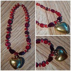 #bracelet #red #heart #pendant #gold #handmade