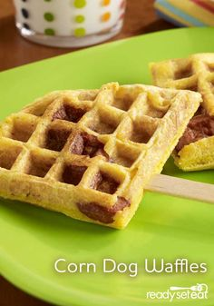 Cornmeal waffle batter baked around frank pieces for easy corn dog waffles that can be served on a stick Cornmeal Waffles, Egg Beaters, Corn Dogs, Waffle Iron, Breakfast For Dinner, Baking, Easy, Recipes, Food