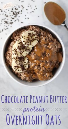Chocolate Peanut Butter Protein Overnight Oats -- this protein packed chocolate oatmeal recipe is the perfect breakfast (or snack, or dessert!). It's so healthy and easy to make, plus gluten free, vegan, and dairy free. Just make at night and enjoy on the go in the morning! Who doesn't love a healthy excuse to eat chocolate? Happy breakfasting! :)