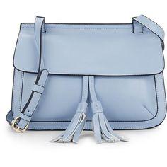 KC JAGGER Kourtney Leather Shoulder Bag (7580 RSD) ❤ liked on Polyvore featuring bags, handbags, shoulder bags, blue leather shoulder bag, leather man bags, handbag purse, blue leather purse and hand bags