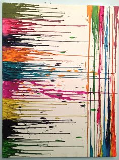 Crayon painting glue the crayons to the top of the canvas the use a blow drier to create the art